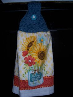 1 Crocheted Top Hanging Kitchen Towel with Vintage Flower Shank Button In Sunflower Bokay in Jar Print Hand Made By StitchinThread by Stitchinthread on Etsy