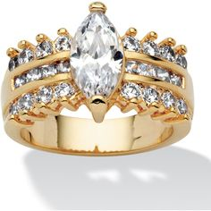 Palm Beach Jewelry PalmBeach 3.28 TCW Marquise-Cut Cubic Zirconia... ($33) ❤ liked on Polyvore featuring jewelry, rings, yellow, 14k ring, palm beach jewelry, engagement rings, palm beach rings and square engagement rings