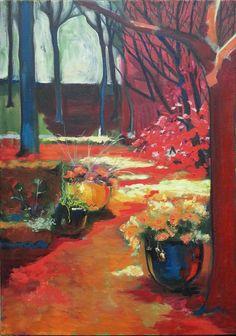 c cile dufour 2017 france peinture huile cerisier fleurs mon jardin printemps peinture huile. Black Bedroom Furniture Sets. Home Design Ideas