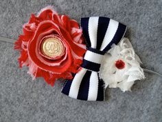Red White and Blue Sailor Chiffon Flower and by jolliebabie, $12.00