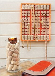 DIY jewelry organizer. I could start drinking more wine and send you my corks.