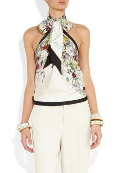 Gucci Printed silk-twill halterneck top NET-A-PORTER.COM