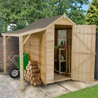 x Pressure Treated Overlap Apex Wooden Garden Shed With Lean To Wooden Storage Sheds, Outdoor Storage Sheds, Outdoor Sheds, Firewood Storage, Garden Tool Shed, Garden Storage Shed, Garden Sheds, Backyard Storage, Shed With Log Store