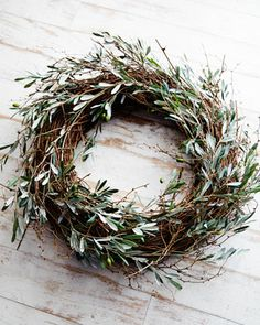 Estate Stone Deer Head Mount & Olive and Twig Wreath - Horchow