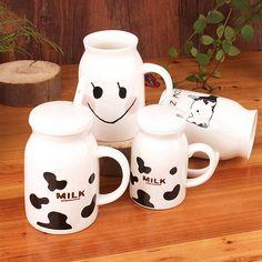 High Quality 250ml 450ml Cartoon Milk Mug with Spoon Creative Cute Lover Milk Mugs, JSF-Mugs-009