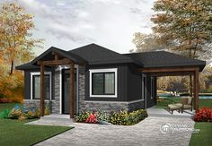 Discover the plan - Maxence 2 from the Drummond House Plans house collection. Small modern rustic 2 bedroom home plans, open kitchen and family room, large side covered deck. Total living area of 643 sqft. Two Bedroom Tiny House, Small Cottage House Plans, Small Cottage Homes, Cottage Plan, Small House Plans, 2 Bedroom House Plans, 20x30 House Plans, Small Cottage Designs, Building A Small House