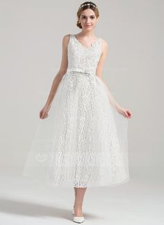 A-Line/Princess V-neck Tea-Length Beading Sequins Bow(s) Zipper Up Regular Straps Sleeveless Hall Reception General Plus No Spring Summer Fall Ivory Tulle Lace Wedding Dress