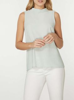 Womens Mint Green Tie Back Shell Top- Green