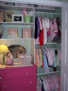 baby closet organization... I like the small dresser!!