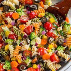 Pasta Recipes Garden Veggie Pasta Salad With Rotini Pasta, Grape Tomatoes, English Cucumber, B… Summer Pasta Salad, Summer Salads, Veggie Pasta Salads, Healthy Pasta Salad, Simple Pasta Salad, Tri Color Pasta Salad, Vegetarian Pasta Salad, Antipasto Salad, Vegetable Salad Recipes