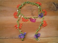 crochet flower lariat necklace