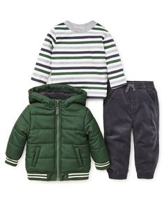 46efbfda73 A classic combo offers outdoor layering comfort for your little boy with a  cute striped tee