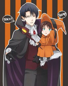 Happy Halloween from Levi and baby Eren / attack on titan