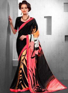 Blasting Black Silk Crepe Printed Casual Sarees  http://www.angelnx.com/Sarees/Designer-Sarees