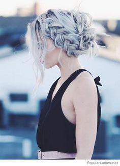 Grey hair with black dress