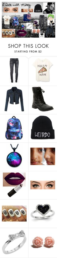 """""""A Date with Michael Clifford"""" by agitae on Polyvore featuring Balmain, LE3NO, Kevin Jewelers, Kate Spade, women's clothing, women's fashion, women, female, woman and misses"""