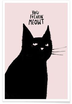 le chat noir ♠ freaking en affiche premium par typealive | JUNIQE