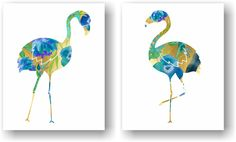 Watercolor Floral Flamingo Kitsch Blue and Faux Gold Foil Art Unframed Prints (Set of 2). Watercolor Floral Flamingo Art Print Set of 2. A modern take on the kitsch flamingo. Hang it in your bedroom or home office. Unframed Prints / Not Canvas The gold/ watercolor in the print is not real gold foil or gold leaf, it's a printed image with a matte finish. 5x7, 11x14 & 12x16 sizes have a small border for easy framing with a mat 8X10 artwork is printed on a 8.5x11 inch sheet for easy framing...