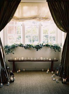 indoor wedding ceremony backdrop idea // if it rains