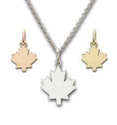 Maple Leaf Pendants and Charms Leaf Pendant, Charms, Pendants, Rose Gold, Necklaces, Jewels, Sterling Silver, Jewerly, Hang Tags