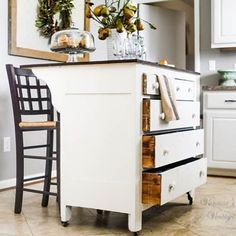 This little dresser turned island is one of the most used items in our home…