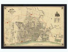 Old Map of Kingston upon Hull 1882, England United Kingdom