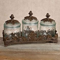 Baroque 3 Piece Glass Canister Set W/Metal Base Finish: Burnished Bronze  Material: Handcrafted Of Cast Aluminum And Glass Contents: Metal Base, ...