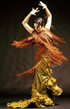 danseuse de Flamenco, jaune - orange
