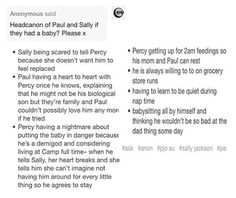 I don't know if I could imagine Paul & Sally having a baby together but yeah these are cute headcanons!<<<Read TOA(Trials Of Apollo) Percy Jackson Head Canon, Percy Jackson Fan Art, Percy Jackson Memes, Percy Jackson Books, Percy Jackson Fandom, Solangelo, Percabeth, Daughter Of Poseidon, Book Tv
