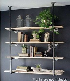 Industrial Retro Wall Mount Iron Pipe Shelf Hung Bracket Diy Storage Shelving Bookshelf (2 pcs)   Home Decor   Book Decor   Reading Books Book Nook #ad