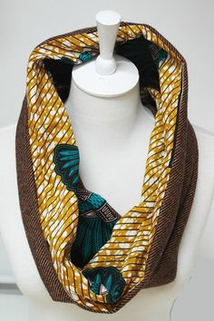 African Wax Print and Tweed Reversible Snood