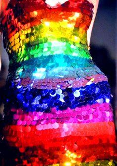 Rainbow color sequin dress (¯`'•.¸de l'arc-en-ciel¸.•'´¯)
