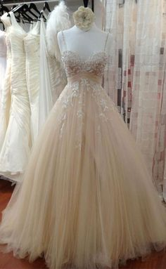 Champagne tulle lace long prom dress, lace wedding dress