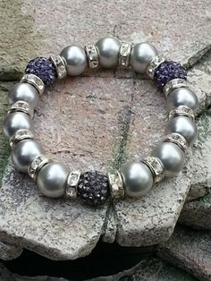 Light Grey Swarovski Crystal Pearl Stretch Bracelet with Rondelles | HCLTreasures - Jewelry on ArtFire