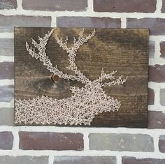 String Art Elk, Elk Silhouette, Wood Deer Sign, Custom Made Sign, Rustic Home Decor, Cabin Sign, Stag Silhouette Sign, Nail Art Deer Sign