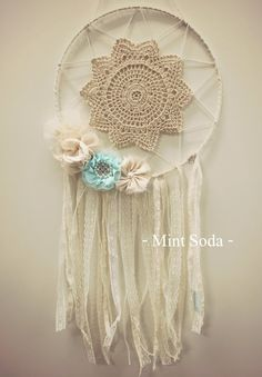 "Large Dream Catcher - ""Vintage Mint"""