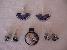 Ciondolo e orecchini - il viola e il nero insieme - fatti con capsule Nespresso