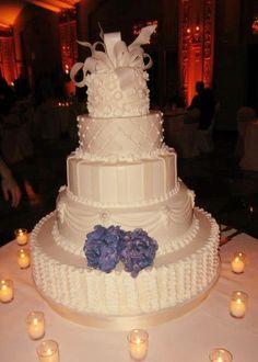 My Buttercream wedding cake - NO fondant!!! - Elegant Cake - Tall White Wedding Cake - Rama Cakes - North Kansas City - 4 foot gorgeous wedding cake