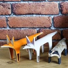 The Flat Family. Fox, Dog in Boots & Badger posing nicely Helen Hodson Ceramics #badger #fox #dog