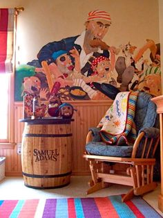 "Pirates are known to sing sea chanteys and use strange words like ""avast"" and ""lubber"". So when I came across this pirate nursery designed by Wendy Connelly, I thought ""WOW"" what a totally fun room! The nursery was inspired by the book ""How I Became a Pirate."" Wendy describes the process of creating the nursery: ...continue reading"