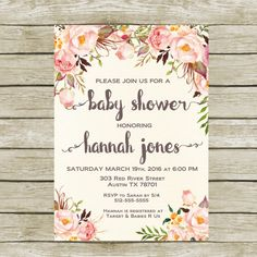Baby Shower Invitation Printable Baby Shower by SunbirdPrintables