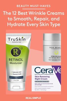 The 12 Best Wrinkle Creams to Smooth, Repair, and Hydrate Every Skin Type | Whether you're looking for a fix to dark circles under your eyes or an effective night cream for sensitive skin, there's something to boost every anti-aging skincare routine from these fan-favorite anti-aging must-haves. #beautytips #realsimple #skincare #makeuphacks #bestmakeup Wrinkle Creams, Face Creams, Beauty Tips, Beauty Hacks, Hair Beauty, Makeup For Older Women, Beauty Must Haves, Skincare Routine, Dark Circles