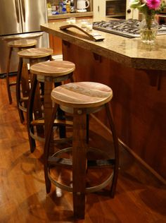 Reclaimed Wine Barrel Bar Stool $200