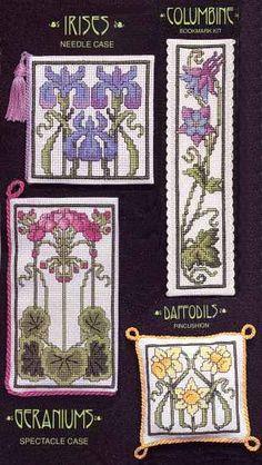 Choose from Columbine Bookmark, Irises Needlecase, Daffodil Pincushion