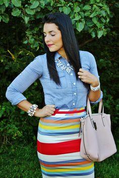 Neutrals & #Boden striped skirt