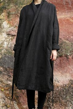 Wrapover coat | Dark grey | Drape gown tie waist | Folded cuffs
