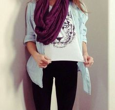Burgundy Infiniti scarf with white tiger shirt and jean shirt