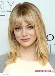 Emma Stone Medium Layered Hair with Bangs - Emma Stone Medium Layered Hair with Bangs  Repinly Hair & Beauty Popular Pins