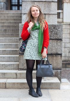 """Sanna, 28    """"I borrowed the cardigan from my friend and bought the dress in Dublin.  I like to shop second hand but I also like new, innovative designers like Issey Miyake and Yohji Yamamoto.""""  24 May 2011, National Museum"""