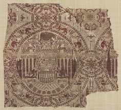 Silk from the Reliquary of Saint Librada in Siguenza Cathedral, 1100s Spain, 12th century lampas weave; silk and gold thread, Overall - h:36.50 w:39.55 cm